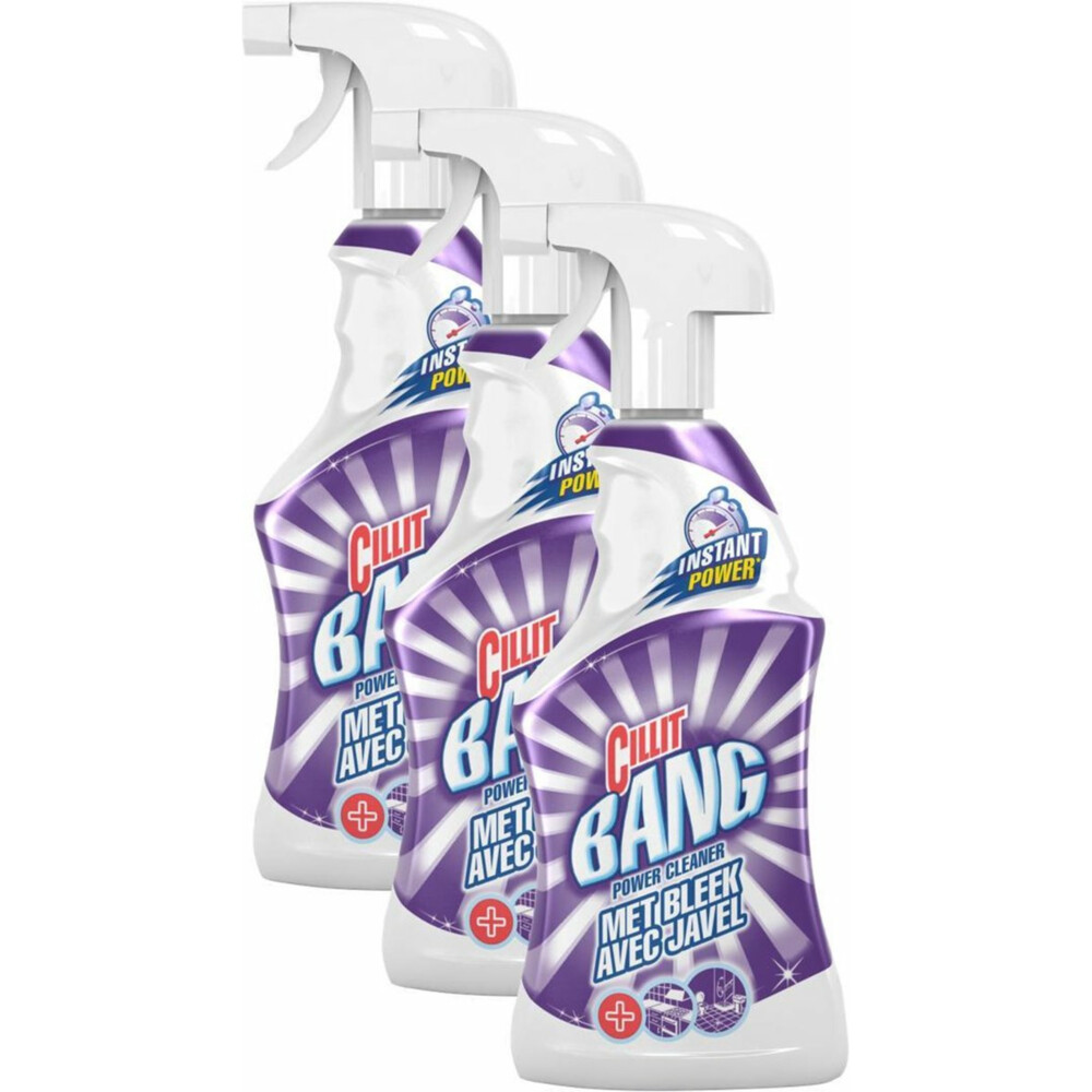 3x Cillit Bang Power Cleaner Schoonmaakspray Bleek 750 ml