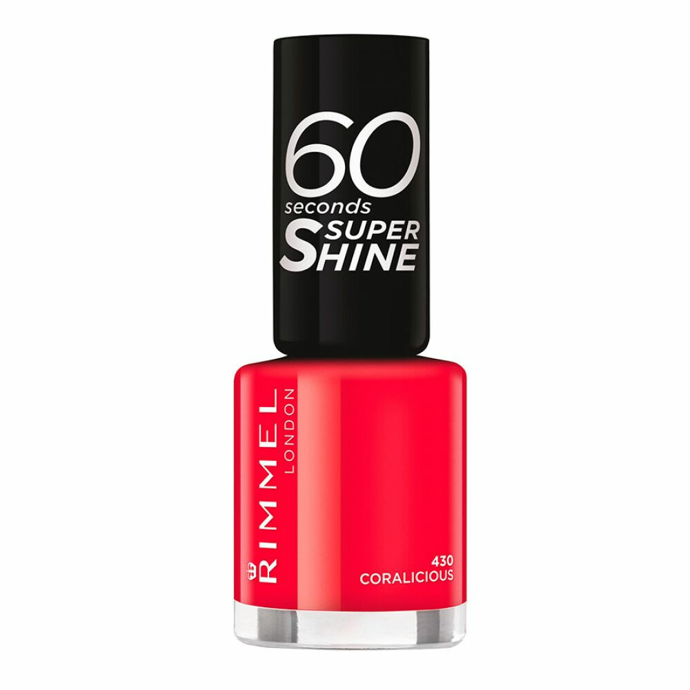 3x Rimmel 60 Seconds Supershine Nailpolish 430 Coralicious 8 ml