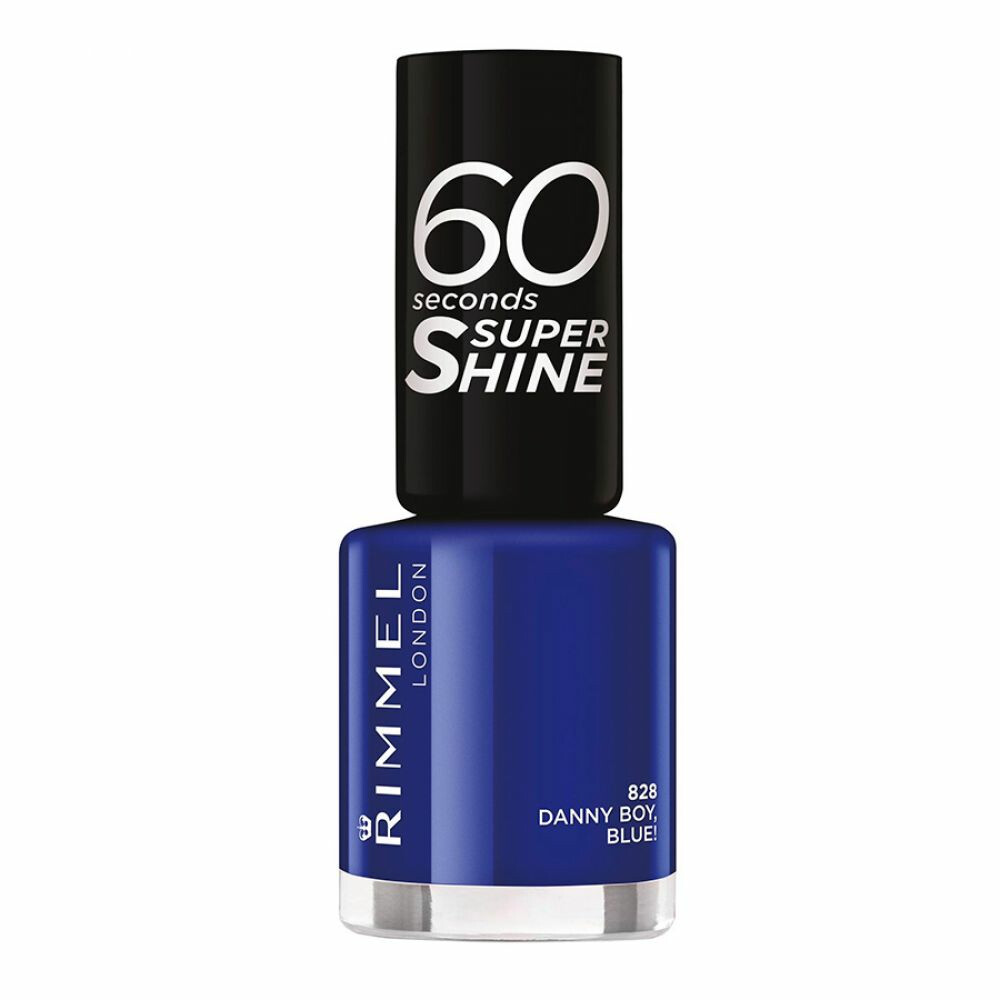 3x Rimmel 60 Seconds Supershine Nailpolish 828 Danny Boy, Blue! 8 ml