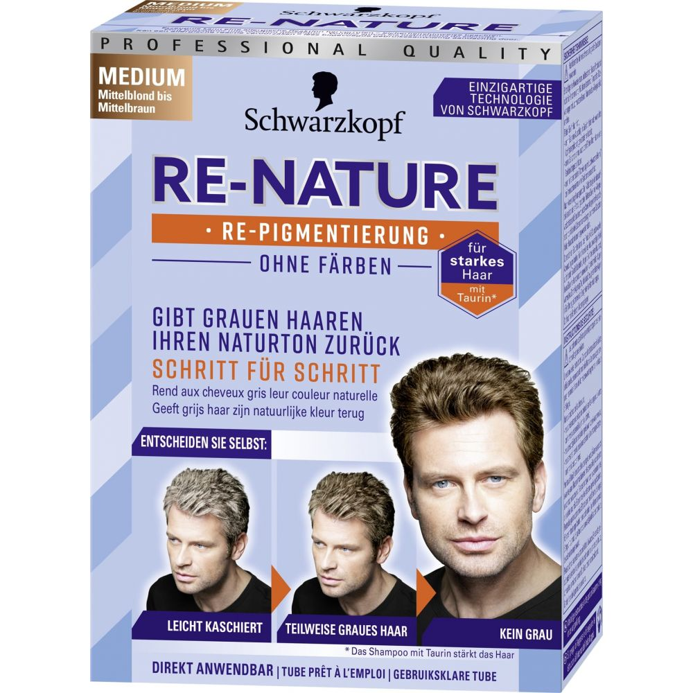 3x Schwarzkopf Re-nature Creme Haarkleuring Man Medium