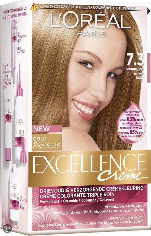 L\Oreal Haarverf Excellence Permanente Crème nr. 7.3 Hazelnoot Blond