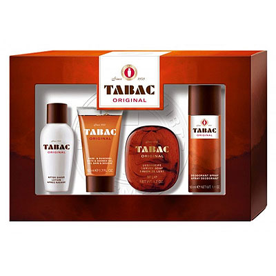 Tabac Original Geschenkset Aftershave Lotion Showergel Deo Soap