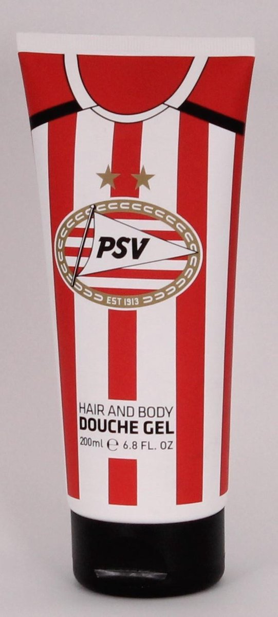 Douchegel hair and body psv rood/wit 200 ml