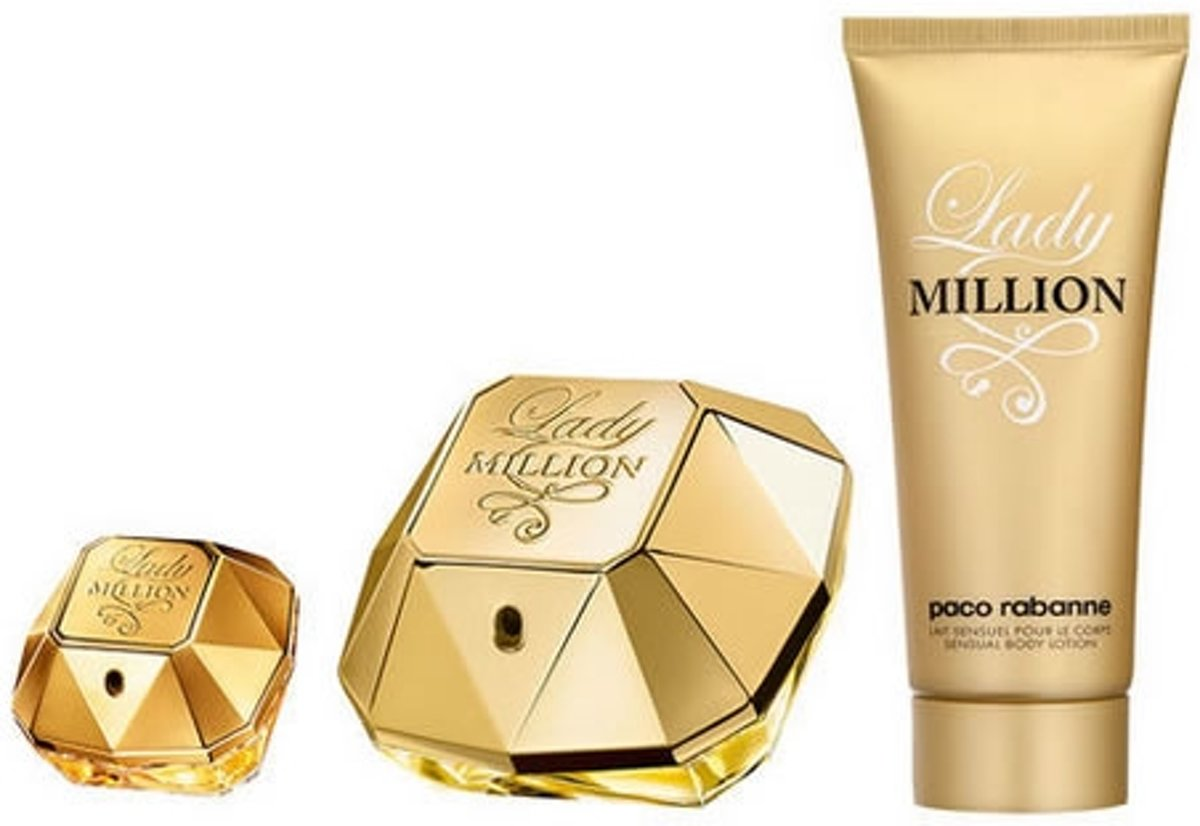 Paco Rabanne Lady Million Gift Set -- 2.7 Oz EdP Spray + .34 Oz Min Edp Spray + 2.5 Oz Body Lotion For Women