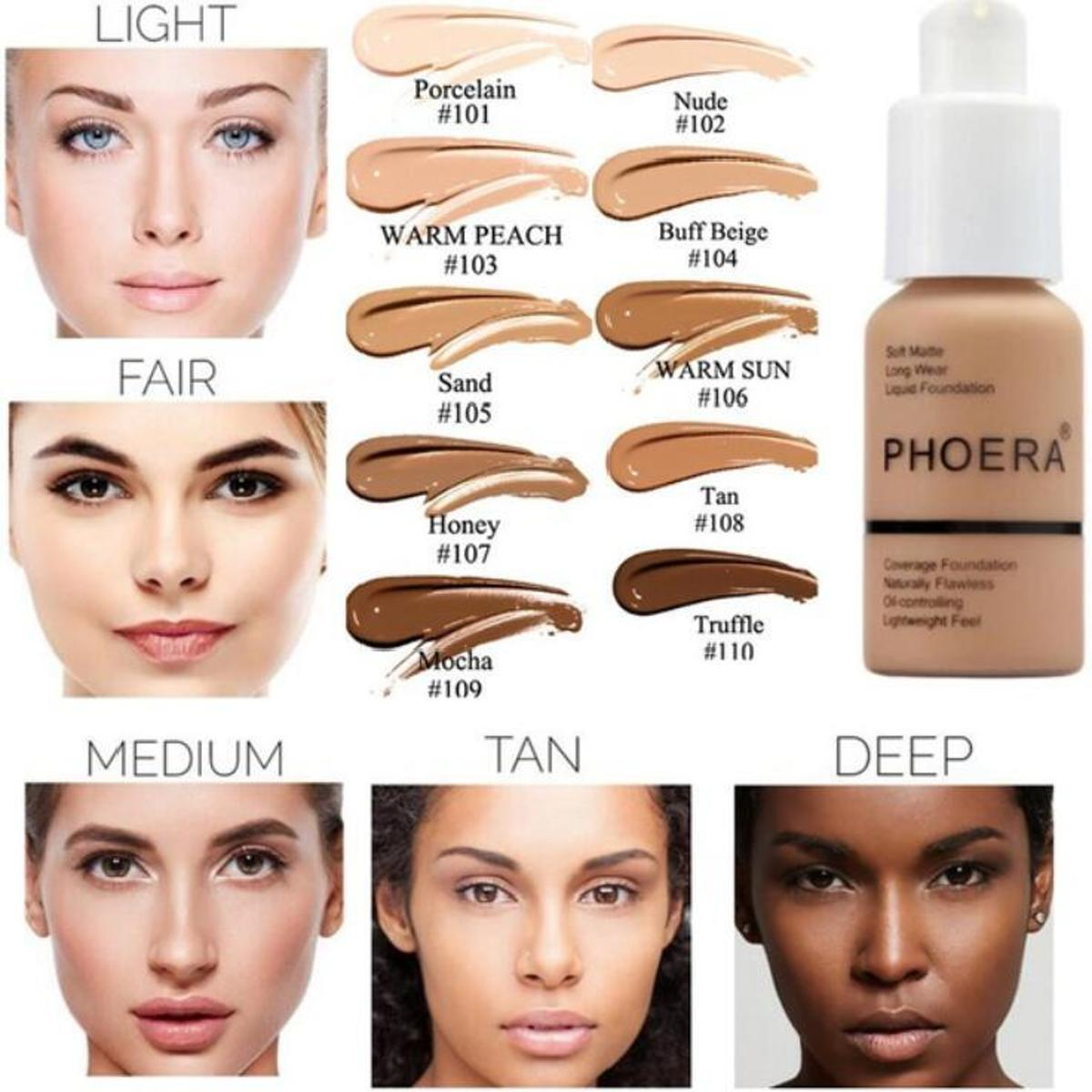 102 nude -PHOERA FOUNDATION™ - Soft Matte Full Coverage Liquid Foundation