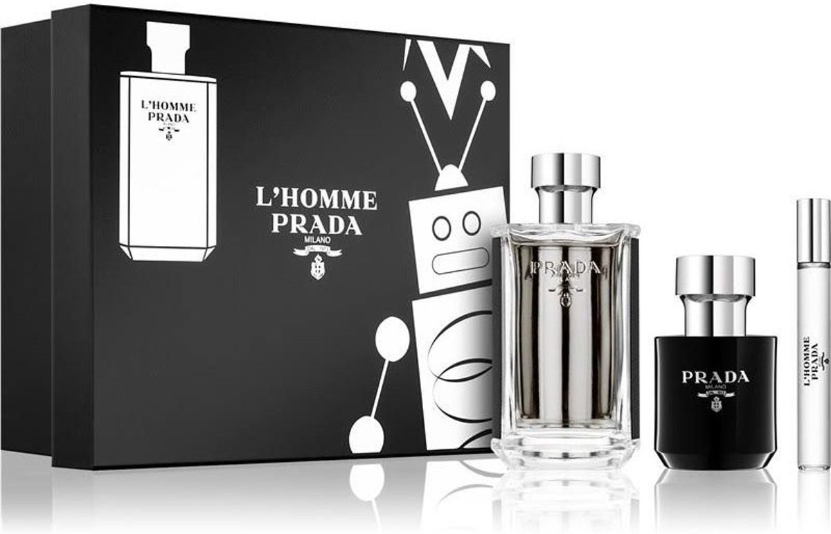Prada LHomme EDT 100 + SG 100 + 10 ML Spray set