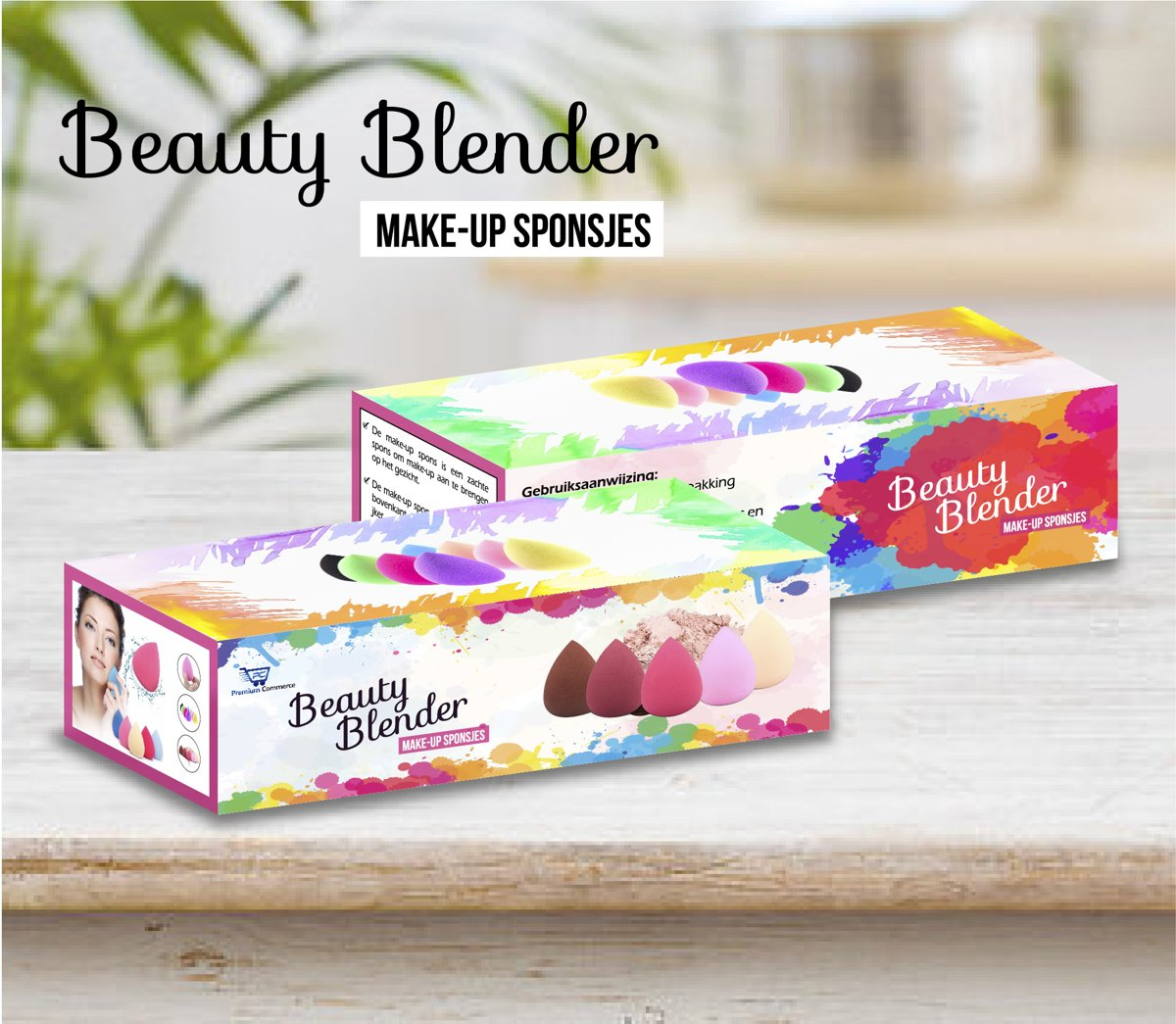 (5 stuks) Make Up Spons - Gezicht Sponsje - Foundation Blender - Beauty Blender - Poeder - Make-Up + Gratis Spons Met Platte Kant