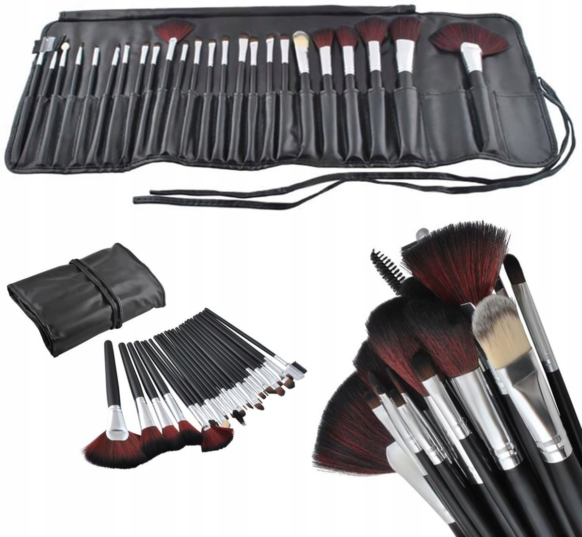 24 Delige Professionele Make-Up Kwasten Set - Kunstleder Etui - Oogmake-up,Visagie, Concealer, en Foundation Penselen.