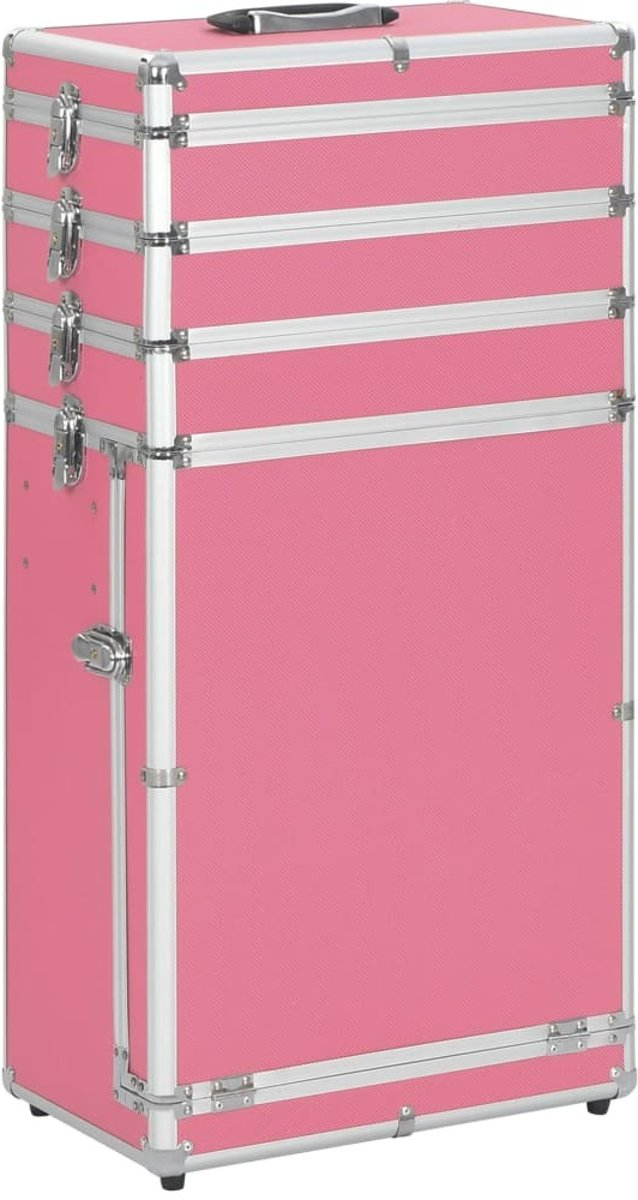 Make-up Koffer aluminium Roze - Make up Trolley - Visagie koffer - Cosmetica koffer - Beauty case - Nagelstyliste koffer