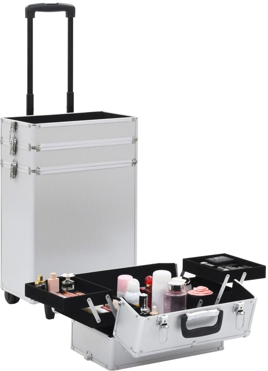 Make-up Koffer aluminium zilverkleurig - Make up Trolley - Visagie koffer - Cosmetica koffer - Beauty case - Nagelstyliste koffer