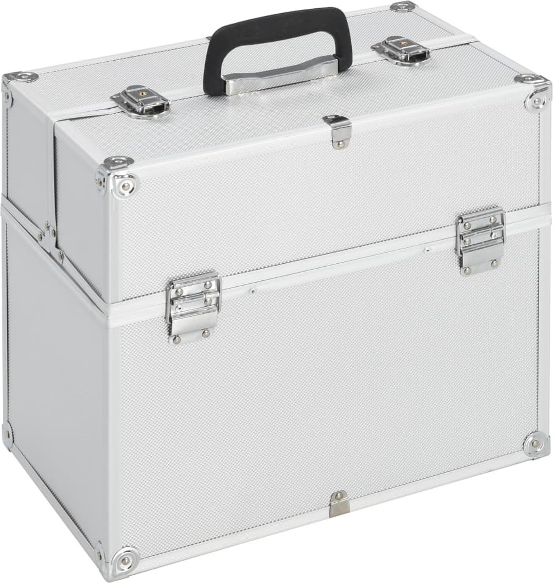 Make-up koffer 37x24x35cm aluminium Zilver - Visagie koffer - Cosmetica koffer - Beauty case - Nagelstyliste koffer - make up case