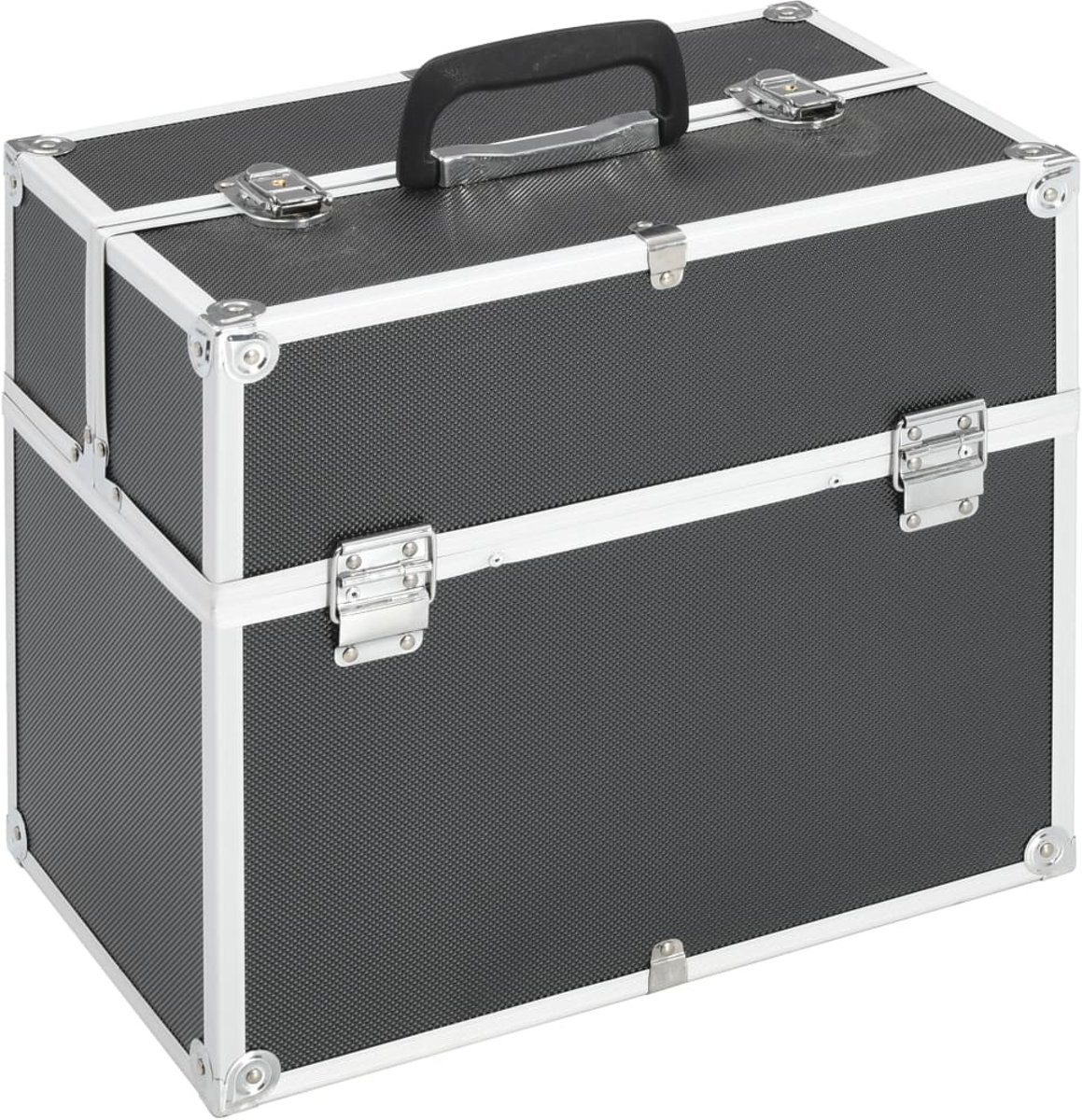 Make-up koffer 37x24x35cm aluminium zwart - Visagie koffer - Cosmetica koffer - Beauty case - Nagelstyliste koffer - make up case