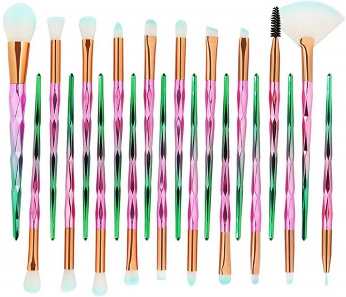 Make-Up Kwasten Set 20 Stuks - Groen