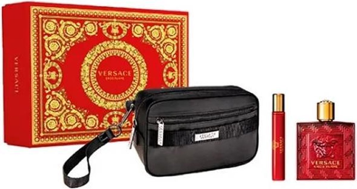 Versace Eros Flame EDP 100 ml + EDP MINI 10 ml + Cosmetic bag (man)