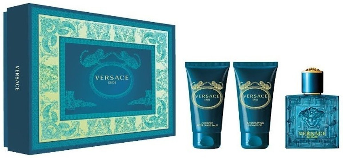 Versace Eros Giftset - 50 ml eau de toilette spray + 50 ml showergel + 50 ml aftershave balm - cadeauset voor heren