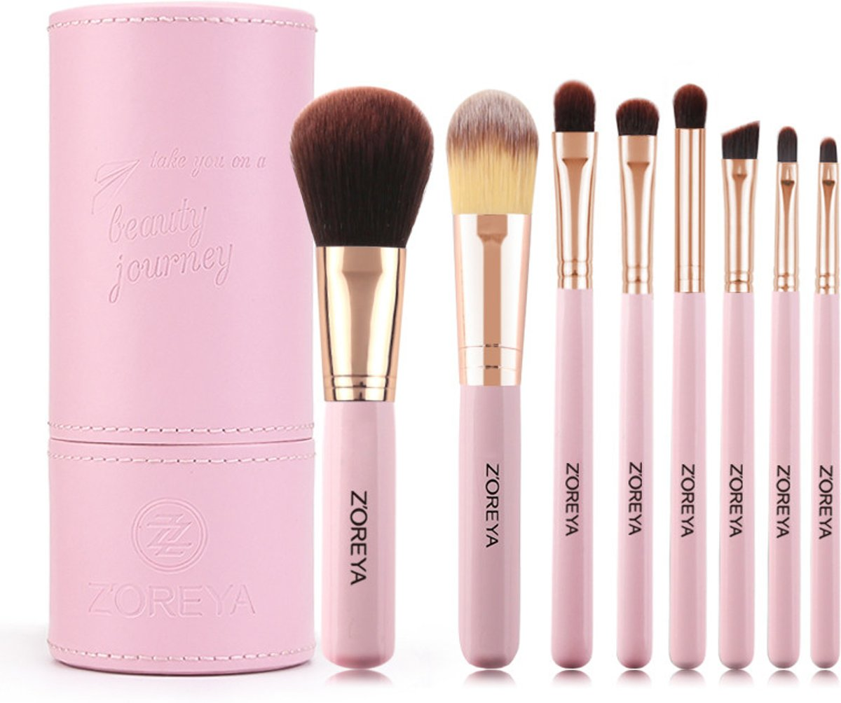 8-delige Make-up Kwasten Set in Houder - Roze - Make-up Organizer - Zoreya