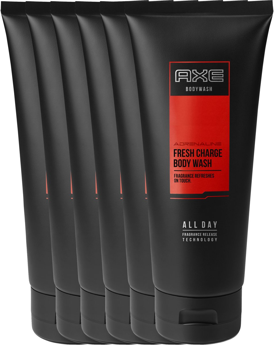 Axe Adrenaline For Men - 6 x 200 ml - Douchegel - Voordeelverpakking