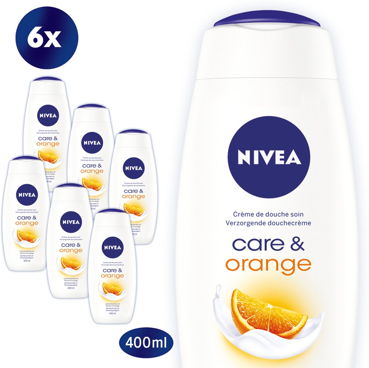 NIVEA Care & Orange Douchecrème - 6 x 400 ml - Voordeelverpakking