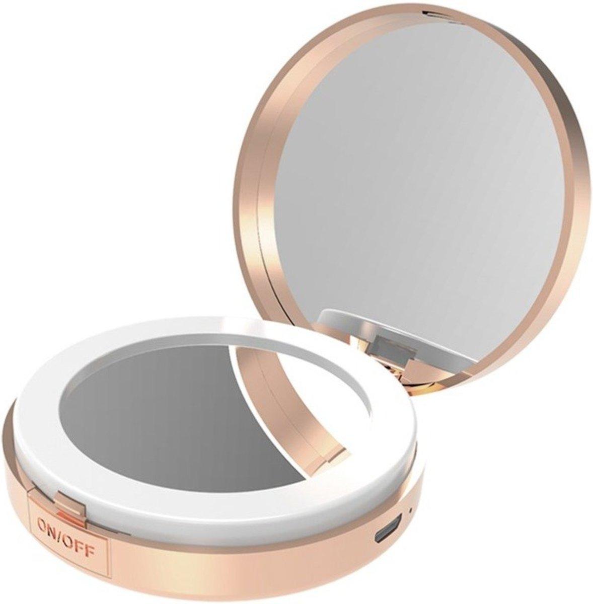 ronde make up spiegel met 3 kleuren led oplaadbaar make. Black Bedroom Furniture Sets. Home Design Ideas