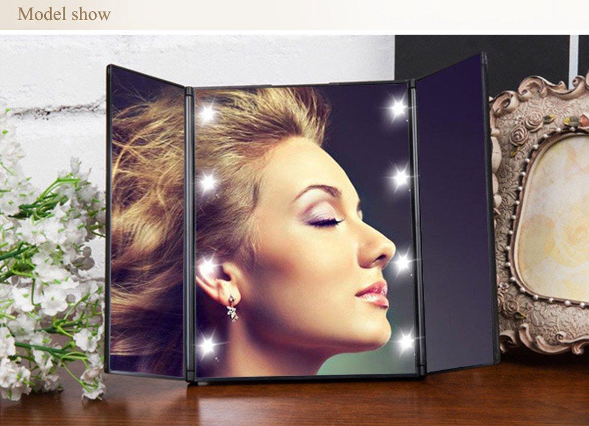 roze make up spiegel met verlichting 8x led draagbare make up spiegel 3 delig. Black Bedroom Furniture Sets. Home Design Ideas